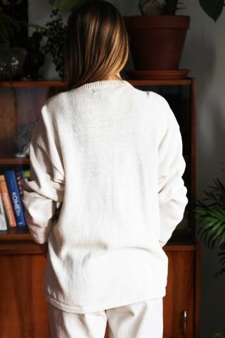 Vintage jasny sweter ze...