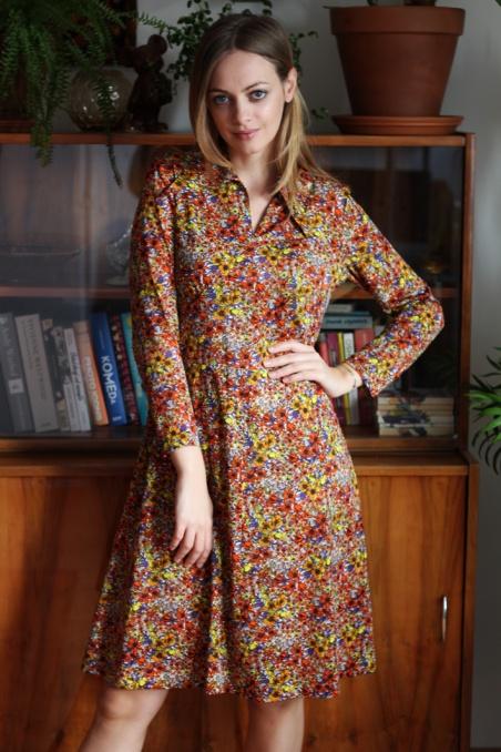 Vintage sukienka w kolorowe...