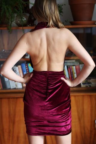 Vintage welurowa sukienka z...