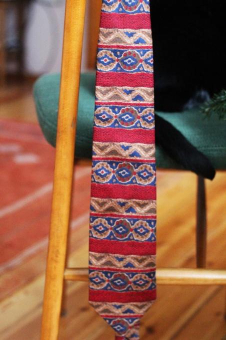 Vintage jedwabny  krawat w...