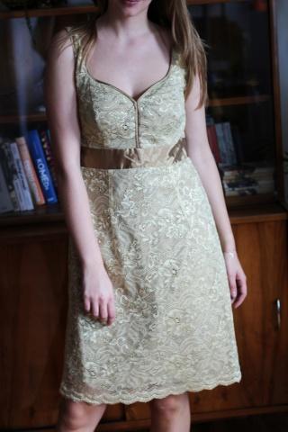 Vintage złota koronkowa...