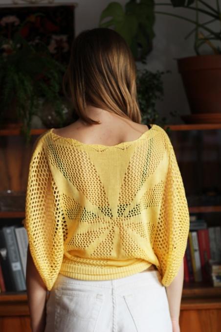 Vintage żółta ażurowa...