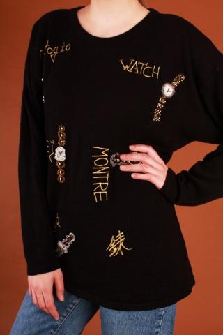 Vintage czarny sweter ze...