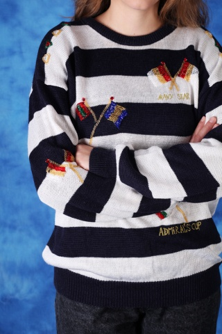 Vintage marynaski sweter z...
