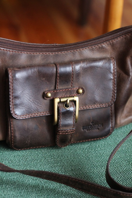 Vintage brown real leather...