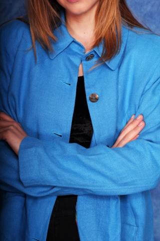 Vintage niebieska lniana...