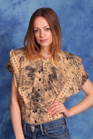 Vintage wzorzysta bluzka z...